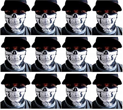 One Dozen-12 pieces -Skull Half Face Shield Tubular Bandana Mask With Skeleton Vertebrae Neck Bones Motorcycle Rider Face Protection Custom Made By My Skull ()