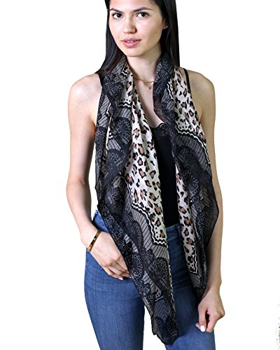Leopard Print Silk Dress (Anika Dali Women's Leopard Lace Animal Print Natural Silk Fashion Scarf, Black/Tan)