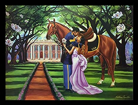 The Goodbye Kiss (Buffalo Soldier) – Katherine Roundtree 24×32 Black Framed – African American Black Art Print Wall Decor Poster