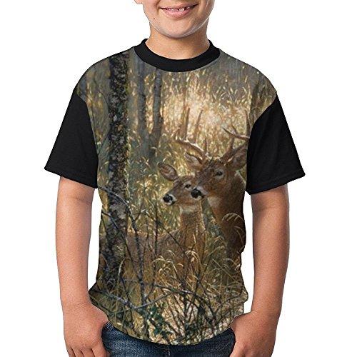 ENGJDHEH Fun Deers Teenager T Shirt Teen Short