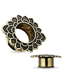 Pair of 1/2 Inch 12mm Tribal Flower Antique Gold IP Stainless Steel Double Flared Tunnel FE7