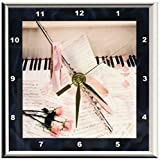 3dRose dc_14906_1 Desk Clock, Music of Flute and Keys, 6 by 6-Inch For Sale