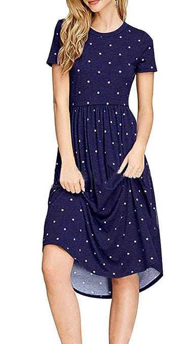 0ad338766113 Anatoky Womens Polka Dot Short Sleeve Pockets Casual Swing Midi Dress at  Amazon Women s Clothing store