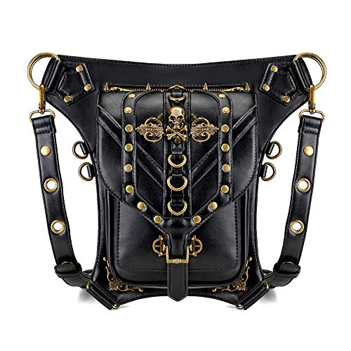 Steampunk Waist bag Fanny Pack Retro Fashion Gothic Casual Leather Shoulder Crossbody Messenger Bags Punk Rock Thigh Leg Hip Holster Purse Pouch Travel Hiking Sport Chain Bags for Women Men (20+)