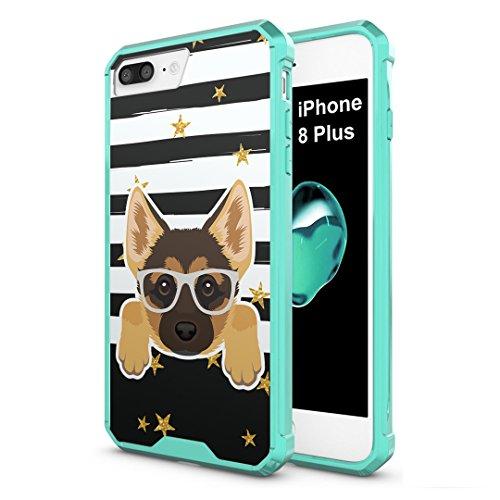 Cute Shepherds German (iPhone 8 Plus Case, Capsule-Case Hybrid Slim Hard Back Shield Case with Fused TPU Edge Bumper (Teal Mint Green) for iPhone 8 Plus - (German Shepherd))