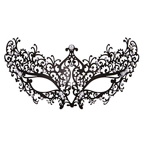 Rehoty Womens Masquerade Mask Metal Rhinestone Venetian Halloween Christmas Party Evening Prom Mask (Black Metal+Clear Stones 2)]()