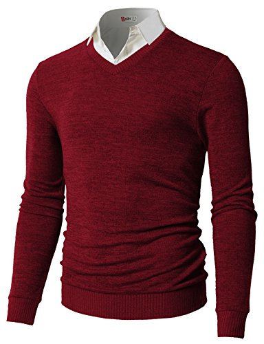 H2H+Men%27s+V-Neck+Long+Sleeve+Pacific+Pullover+Sweaters+RED+US+M%2FAsia+L+%28CMOSWL018%29