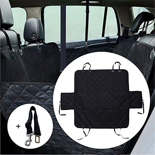 EASJOY Luxury X Large Car Seat Cover Pet Seat Cover Dog Seat Cover With Extra Side Flaps, Bonus Car Safety Belt and Metal Hooks, 56x60in Size Special for Jeeps Trucks SUVs ,WaterProof & Hammock