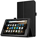 Fire HD 8 Case, Premium Leather Folio Folding Stand Cover Case for HD 8 Tablet with Alexa (7th Gen, 2017 Release) [with Auto Wake / Sleep Function] – Black