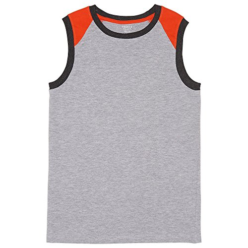 (French Toast Boys' Big Muscle Tee, Colorblocked Heather Gray XL)