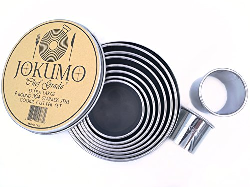 JOKUMO 9 Piece Extra Large Chef Grade Plain Round Pastry / Cookie Cutter Set - Extra Thick Premium 18/8 304 Stainless Steel - Marked Size for Professional Chefs and Ambitious Home (Chefs Cookie Cutters)