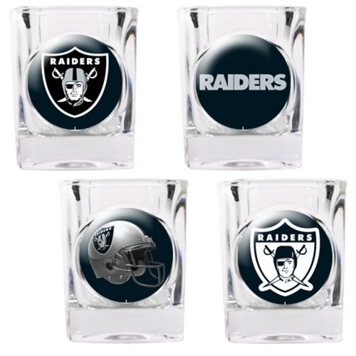 4 Piece NFL Collector's Shot Glass Set NFL Team: Oakland Raiders