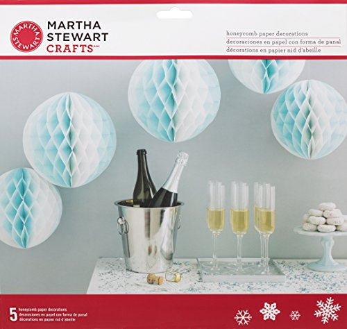 Martha Stewart Honeycomb Balls 5/Pkg-Blue & White