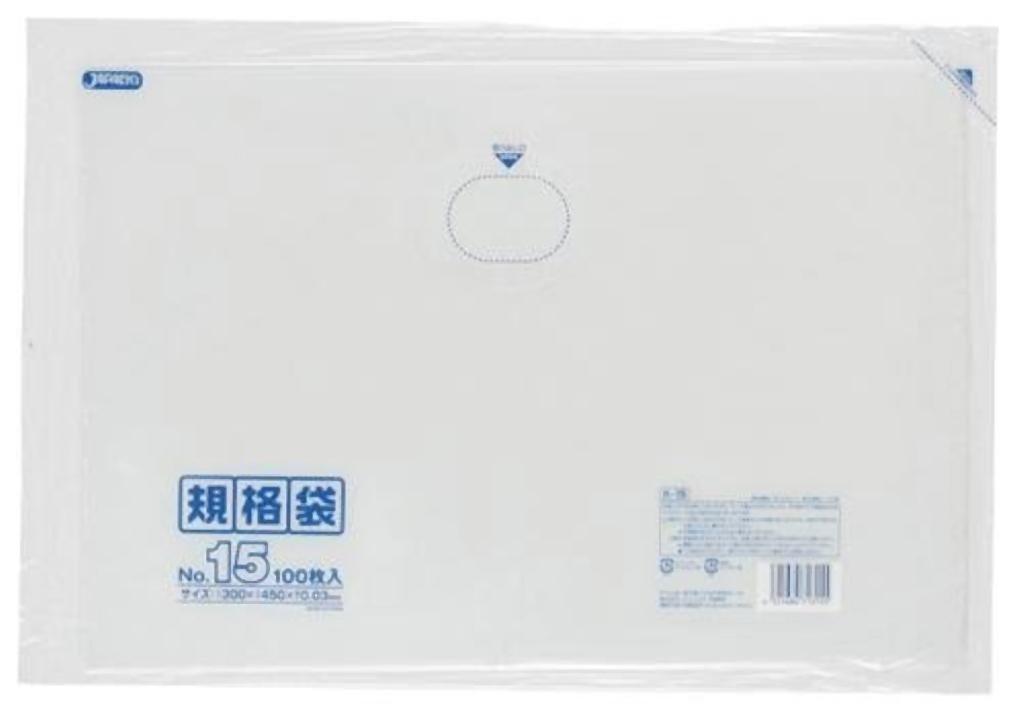 規格袋 15号100枚入03LLD透明 K15 【まとめ買い(20袋×5ケース)合計100袋セット】 38-460   B00PL9DWS2