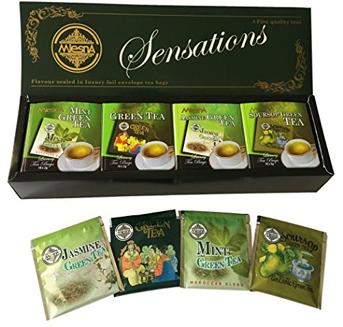 Mlesna Pure Ceylon Foil Envelope Green Tea Selection, Jasmine, Soursop, Mint and Green Tea - 40 Count ()