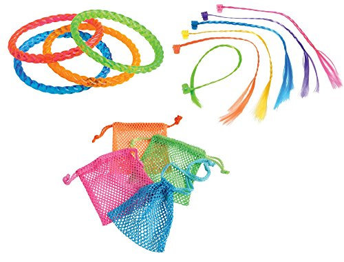 1980s Neon Toy Party Favor Supplies 36 Piece Set for 12 Bundle Mesh Drawstring Bags Hair Braids Bangle (1980s Mesh)