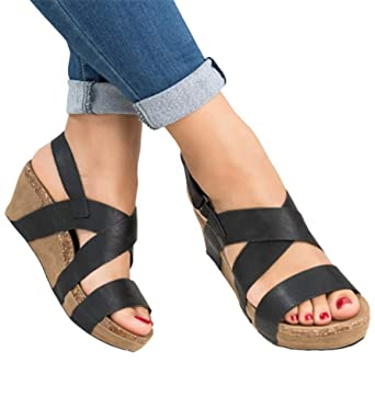 cd163ee2179 Amazon.com  Chellysun Women Ankle Strappy Buckle Platform Wedge Sandal Open  Tote Summer Shoes  Clothing