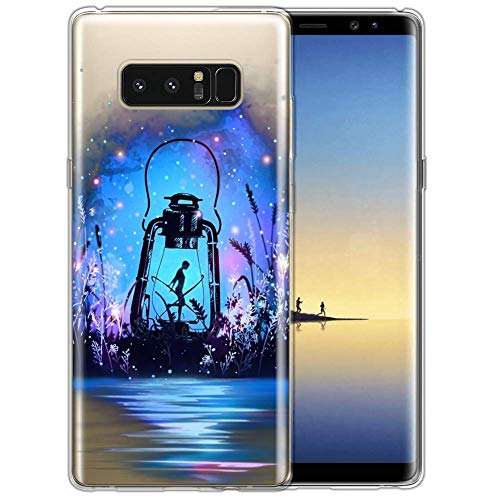 Upgraded Clear Case for Samsung Galaxy Note 8, MooreDickey Flexible Hybrid Thin Soft Gel Silicone TPU Bumper Rubber, Shock Proof Protective Phone Cover Case for Girls Women, Little girl in firefly lig