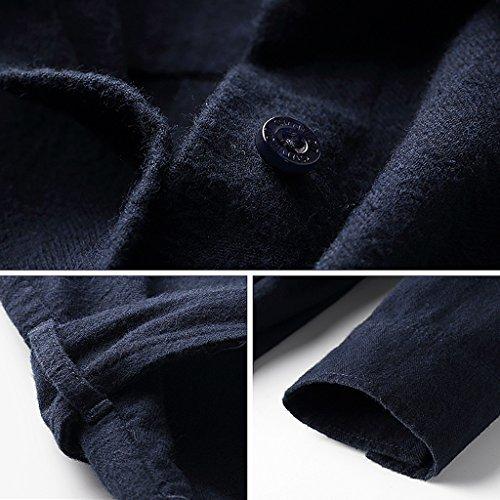Autumn Winter Shirt Long-Sleeved Women's Long Coat Loose Cotton Blouse (Color : Dark Blue, Size : M) by LI SHI XIANG SHOP (Image #4)