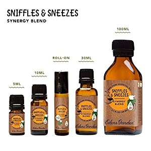 Edens Garden Sniffles and Sneezes Ok for Kids Synergy Blend Essential Oil (Silver Fir Cedar Wood Pine Spruce Sweet Orange and Lavender for Cough Cold Allergies and Congestion), 10 mL