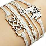 White Elephant Multilayer Braided Wristband Rope Chain ,Handmade Hand Woven Bracelet by Petrelking