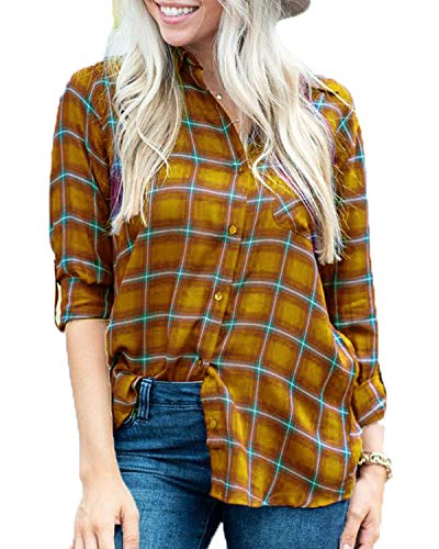 MISSLOOK Women's Plaid Shirts Button Down Tops Flannel Roll-up Sleeve Blouses Tunics (Medium, Yellow 1) (Flannel Shirt Abercrombie Women)