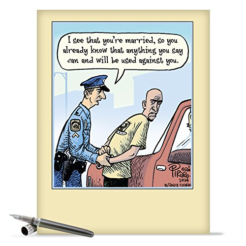 J9774 Jumbo Funny Anniversary Card: Married Arrest With Envelope (Extra Large Version: 8.5'' x 11'')