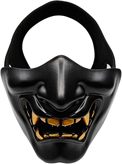Amazon.com: TiTa-Dong Halloween Cosplay Half Face Mask,Evil Ghost Face  Kabuki Samurai Costume Mask for Halloween Costume Party,Airsoft Paintball  Game: Clothing