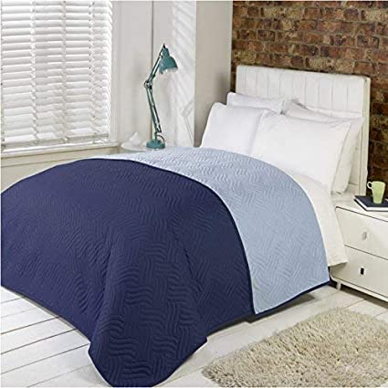 75894f7cbbf9f Luxury Soft Quilted Comforter Microfibre Throw Bedspread Bedding Fits  Double King Size Bed (Navy Blue