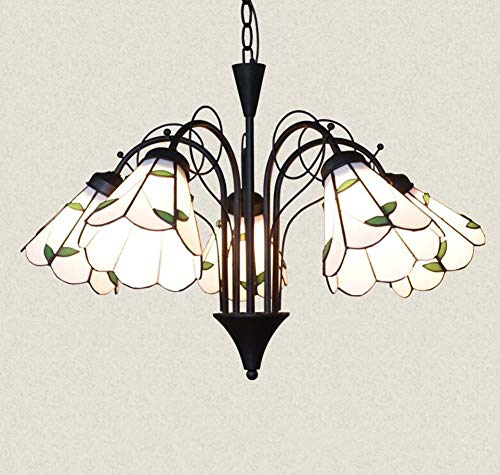 GAOLIQIN Tiffany Style Chandelier Mediterranean Stained Glass Pendant Lights Living Room Bedroom Dining Room Decoration Pendant Ceiling Lights (Design : 5 Heads) ()