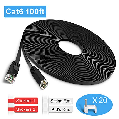 TBMax Cat6 Ethernet Cable, Black Flat 100ft Cat 6 Network Cable with Clips/RJ45 Connectors, Long LAN Cable for Computer, Router