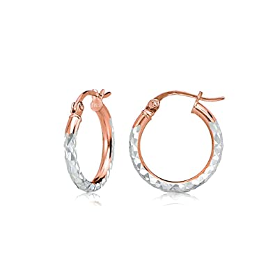 0920b93b8 Rose Gold Flash Sterling Silver Two-Tone 2mm Diamond-Cut Round Hoop Earrings,.  Roll over image to zoom in. Hoops & Loops