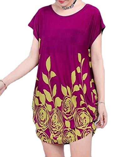 Grande Tang Womens Étoiles Imprimé Floral Lâche En Forme De Taille Plus Crewneck Déplacer Mini Robe Violette