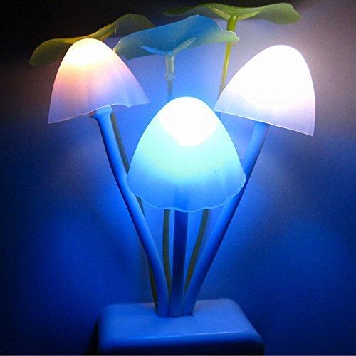 Caopixx Yellow Light Sensor LED Mushroom Night Light Wall Lamp Home Decor Night Light for Kids (D) ()