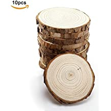 """10pcs 4-4.7""""(10-12cm) Unfinished Natural Wood Slices with Bark for DIY Crafts Christmas Rustic Wedding Ornaments by HANBEN"""