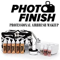 Photo Finish Professional Airbrush Cosmetic Makeup System Kit / Fair to Medium Shades 5pc Foundation Set with Blush, Concealer, Shimmer, Primer and Silica Finishing Powder- Chose Matte or Luminous Finish Kit