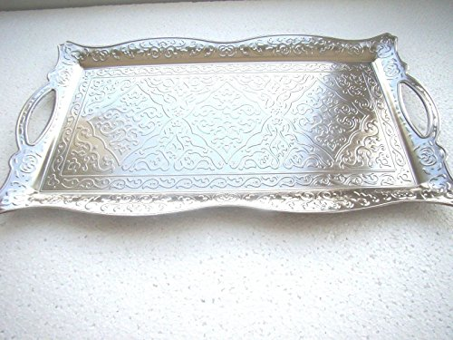 Vintage Style Copper Turkish Ottoman Coffee Tea Serving Tray 10 in x 16 in ( Silver ) (Turkish Tray Serving)