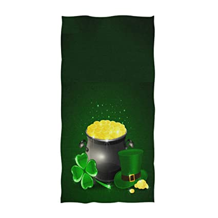 3c6d2033db61 Naanle Magic Green Hat of Leprechaun Shamrock and Pot of Gold St. Patrick's  Day Print Soft Guest Hand Towels Multipurpose for Bathroom, Hotel, Gym and  ...