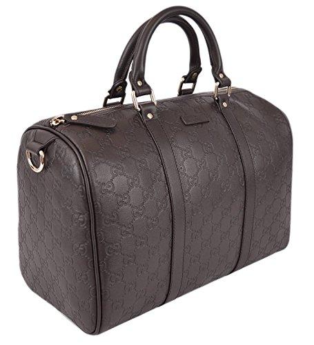 GUCCI 265697 Women's Brown Leather GG Guccissima Boston Handbag O/S