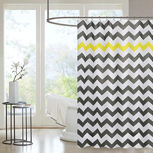 PICURA Fabric Shower Curtain Liner, Cloth Shower Curtain Mildew Resistant Washable Polyster, Waterproof Shower Curtain with 12 Hooks, Eco-Friendly & PVC-Free, STANDARD Size 72X72-inch (Yellow) by PICURA