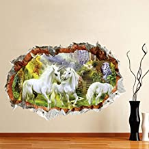 ufengke® White Horses Damaged Wall Wall Decals,Living Room Bedroom Removable Wall Stickers Murals