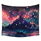 New Arrival Castle & Love Wish Lanterns Pattern Tapestry Wall Hanging,Wall Art,Tablecloth,Beach Throw,51inchx60inch