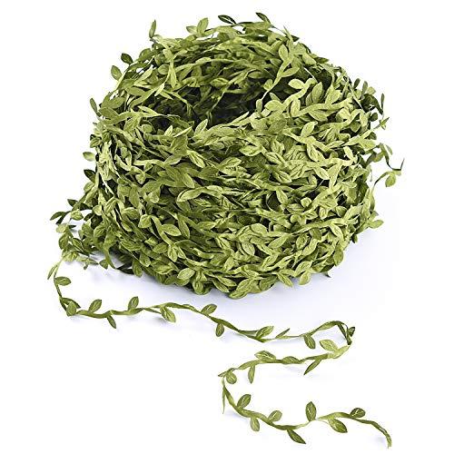 Lvydec Artificial Vine Greenery Garland, 265 Feet Green Leaves Ribbon Fake Ivy Leaf Garland for DIY Wedding Party Craft Wall Decoration