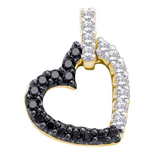 - Roy Rose Jewelry 10K Yellow Gold Womens Round Black Color Enhanced Diamond Dangling Heart Pendant 1/3-Carat tw