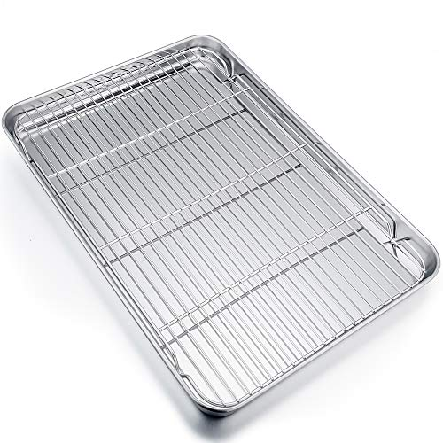 - P&P CHEF Extra Large Baking Sheet and Rack Set, Stainless Steel Cookie Sheet Baking Pan with Cooling rack, Rectangle 19.6''x13.5''x1.2'', Oven & Dishwasher Safe -Half Size