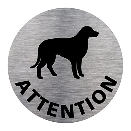 Diam/ètre 83 mm Signal/étique.biz France Adh/ésif dInformation Attention Au Chien Aspect Plaque Aluminium Bross/é