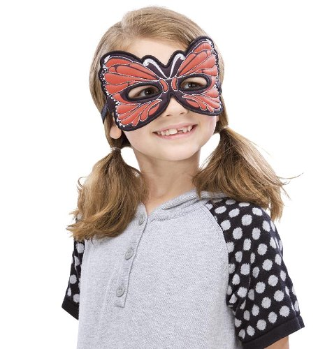 Fanciful Fabric Butterfly Mask 7''L, in Orange