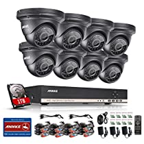 Annke 8-Channel 1080N Video Security System DVR with 1TB Hard Drive and (8) HD 960P 1.3MP Outdoor Fixed CCTV Cameras with IP66 Weatherproof Housing, Super Day Night Vision, P2P/Quick QR Code Technical
