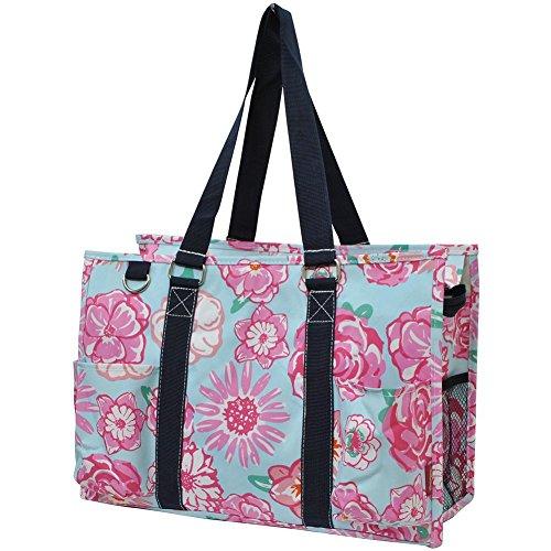 N Gil All Purpose Organizer Medium Utility Tote Bag 2 (Rose Floral Navy Blue)