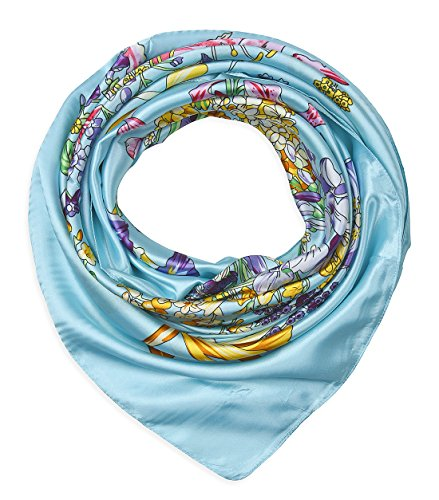 Large Square Satin Silk Like Lightweight Scarfs Hair Sleeping Wraps for Women Blizzard Blue Colorful Flowers Pattern ()